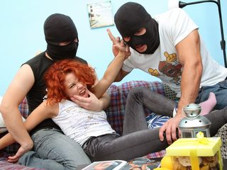 Young Masha suck cock and get fucked by the thieves