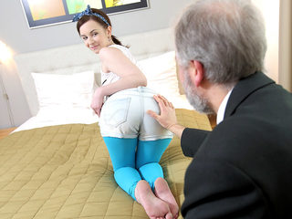 This old goes young guy admired Lenka's ass before licking..