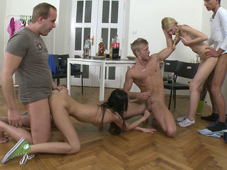Teens fucking three-on-two