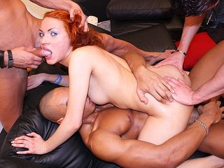 Hard group sex with a red maid
